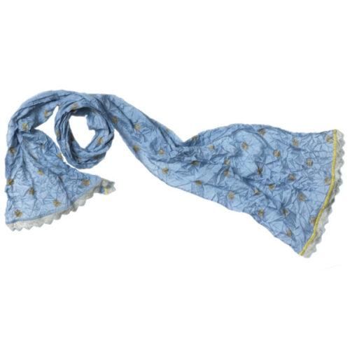 1213 14 blå silke tørklæde silketørklæde med broderi hæklet kant