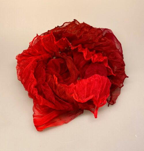 1159-91, Silkechiffon twistet på tværs 1159 - Røde toner, rød, pink, røde toner, tyndt, silke, chiffon, luksus, lækkert, plisseret, crash, biti, ribe, sjal,