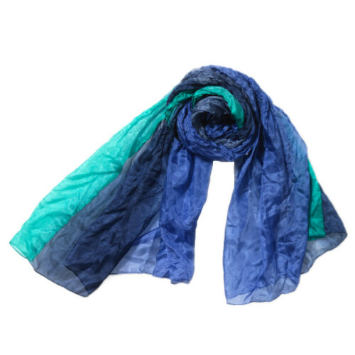 1658 farve 235 blå grøn silke silketørklæde tørklæde