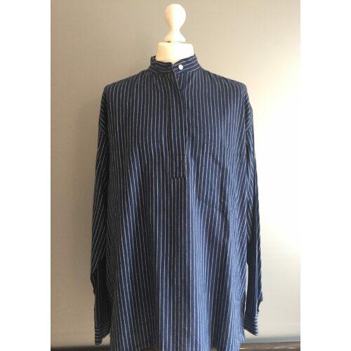 Bondeskjorte i bomuld - Mørkeblå (stof 04), voksen