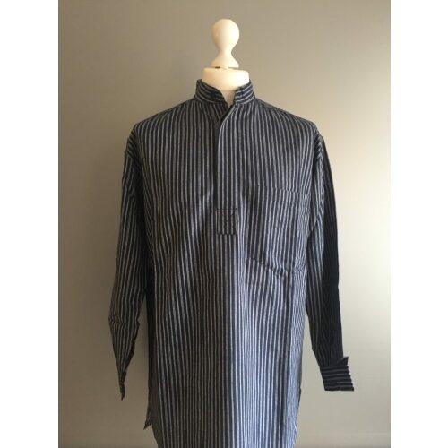 Bondeskjorte i bomuld - Midnats blå dobbeltstribe (stof 01), voksen