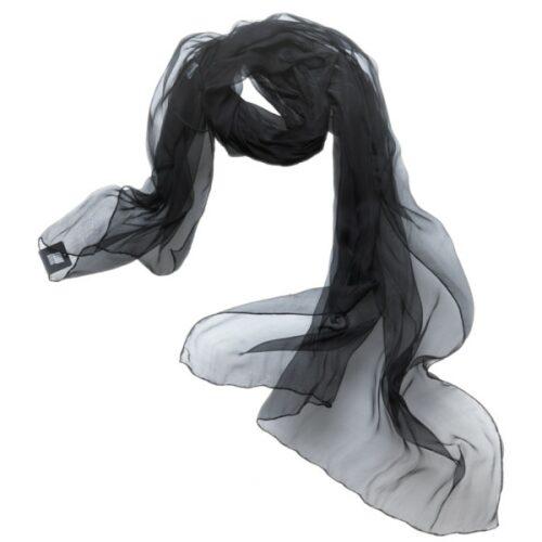 Silkechiffon 1163 XL - Sort, 1163-30, sort, silke, silketørklæde, tørklæde, luksus, fest, festtøj, stola, sjal, festkjole, håndrullede, biti, ribe,