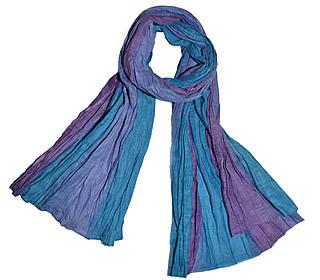 EH1001 farve 2, Tørklæde Crinkle bomuld - Blå/lilla, , bomuld, bomuldstørklæde, sjal, stola, tørklæde, stort, koloreret, blå farver, casual, afslappet, gave, biti, ribe,