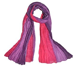 Tørklæde Crinkle bomuld - Pink/lilla,EH1001 farve 5, 1001-5, pink, lilla, rosa, violet, , bomuld, bomuldstørklæde, sjal, stola, tørklæde, stort, koloreret, lilla farver, casual, afslappet, gave, biti, ribe,