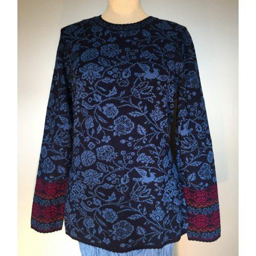 Alpaca pullover Julieta blå, tilbud, jaquardmønster, sjöden, oleana, alpaca, alpacastrik, kvalitet, strikbluse, damestrik, luksus, tynd, sweater, lun, ikke for varm, silke, biti, ribe, kongeblå