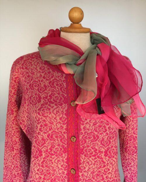 Alpaca cardigan rund hals pink