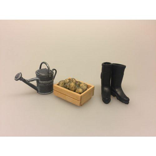Miniature Kasse med kartofler, miniature, miniaturer, dukkehus, dukkehusting, sættekasse, sætterkasse, grøntsager, grønthandler, mini, kartofler, biti, ribe, tilbehør,