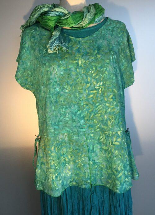 "Batikbluse - Model 185 - Chiffon ""Løv"" Grøn"
