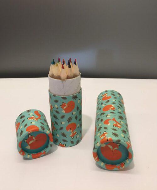 børn Cyllinderbox med farveblyanter ræv