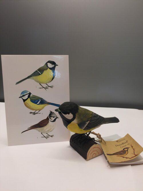 Naturens fugle - Wildlife garden - håndskåret af træ - Musvit