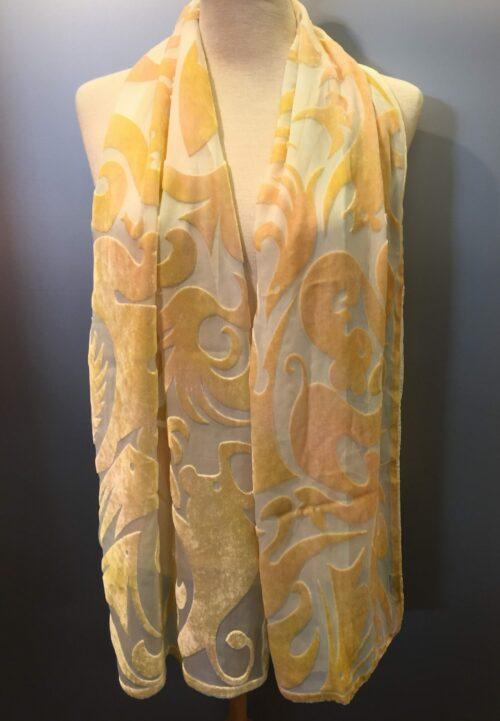 Tørklæde silkevelour fabeldyr beige/lime velour silketørklæde sjal