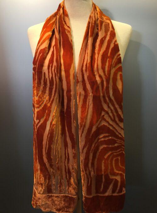 Tørklæde silkevelour velour silketørklæde sjal gylden brun zebra