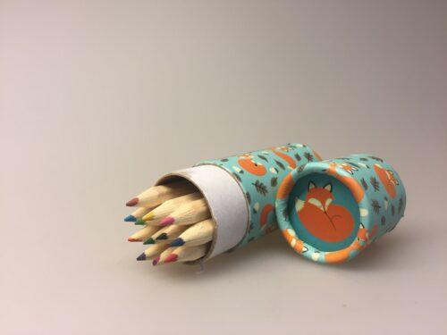 Farveblyanter til børn i cyllinderbox - Ræven 'Rusty the Fox'