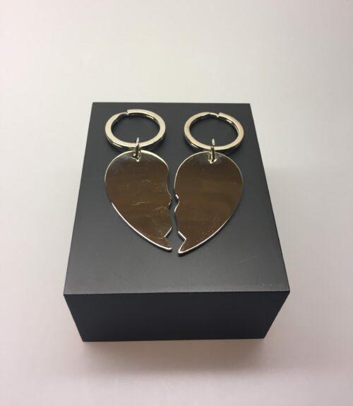 Nøglering - Hjerte todelt - blank