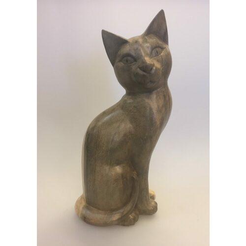 Kat - håndskåret - Siddende 'Kigge til siden' Grå