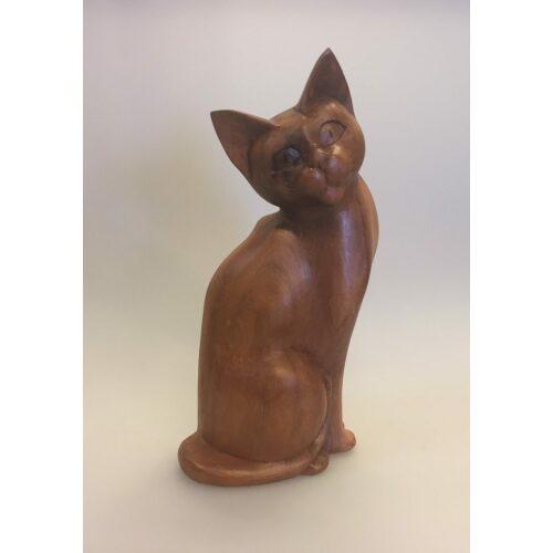 Kat - håndskåret - Siddende 'Kigge til siden' Brun