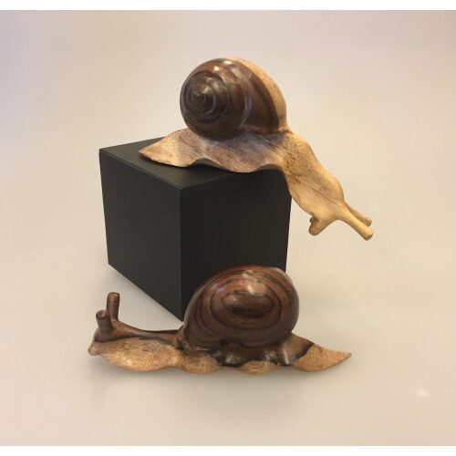 Snegl med hus - Håndskåret af træ