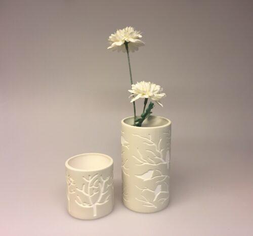 Fyrfadsstage - Vase med fugle natur - Fyrfadsstage med fugle natur - Vase el. Fyrfadsstage med fugle natur, lille, sandfarvet, elfenben, keramik, fyrfadsstage, lysestage, natur, biti, vase