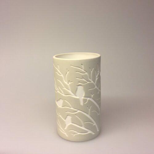 Fyrfadsstage - Vase med fugle natur - Vase el. Fyrfadsstage med fugle natur, lille, sandfarvet, elfenben, keramik, fyrfadsstage, lysestage, natur, biti, vase