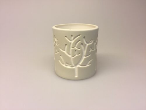 Fyrfadsstage med fugle natur - Vase el. Fyrfadsstage med fugle natur, lille, sandfarvet, elfenben, keramik, fyrfadsstage, lysestage, natur, biti