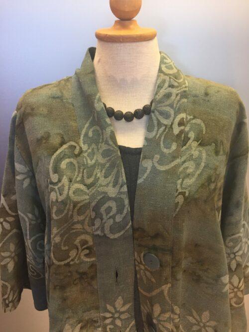 Uno Flower Khaki jakke armygrøn grøn naturmaterialer hør viskose batik