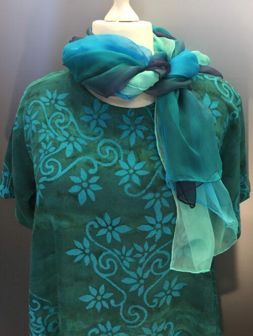 Ulin Flower Petrol pluse blåblomster batik naturmateriale hør viskose
