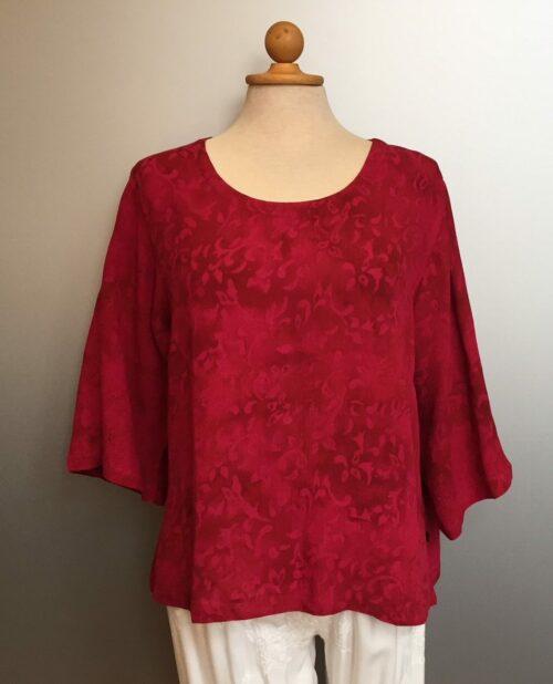 """Batik bluse med 3/4 ærmer - model Puri Top - crincle """"Løv"""" Pink"""