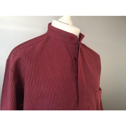Bondeskjorte i bomuld - Rød pinstribet (stof 966), voksen