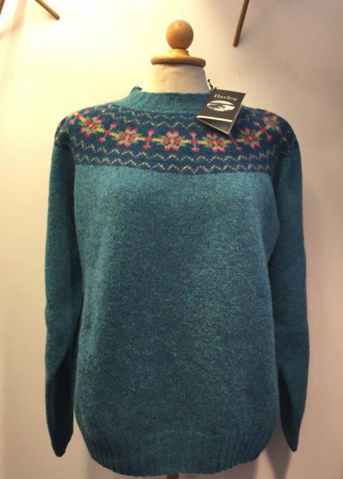 pullover skotsk uld færø turkis