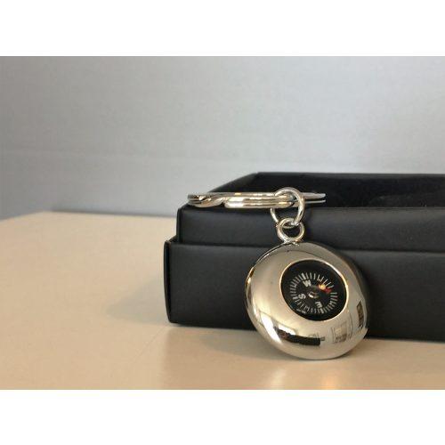 Nøglering med kompas - blank sølv