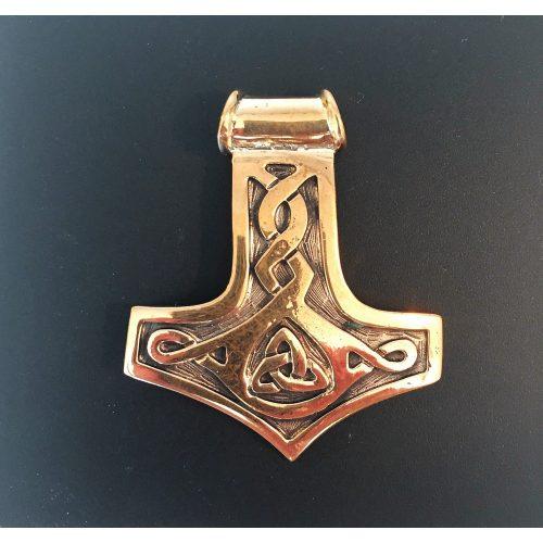 Vikingevedhæng i bronze - Thorshammer med keltisk flet XL