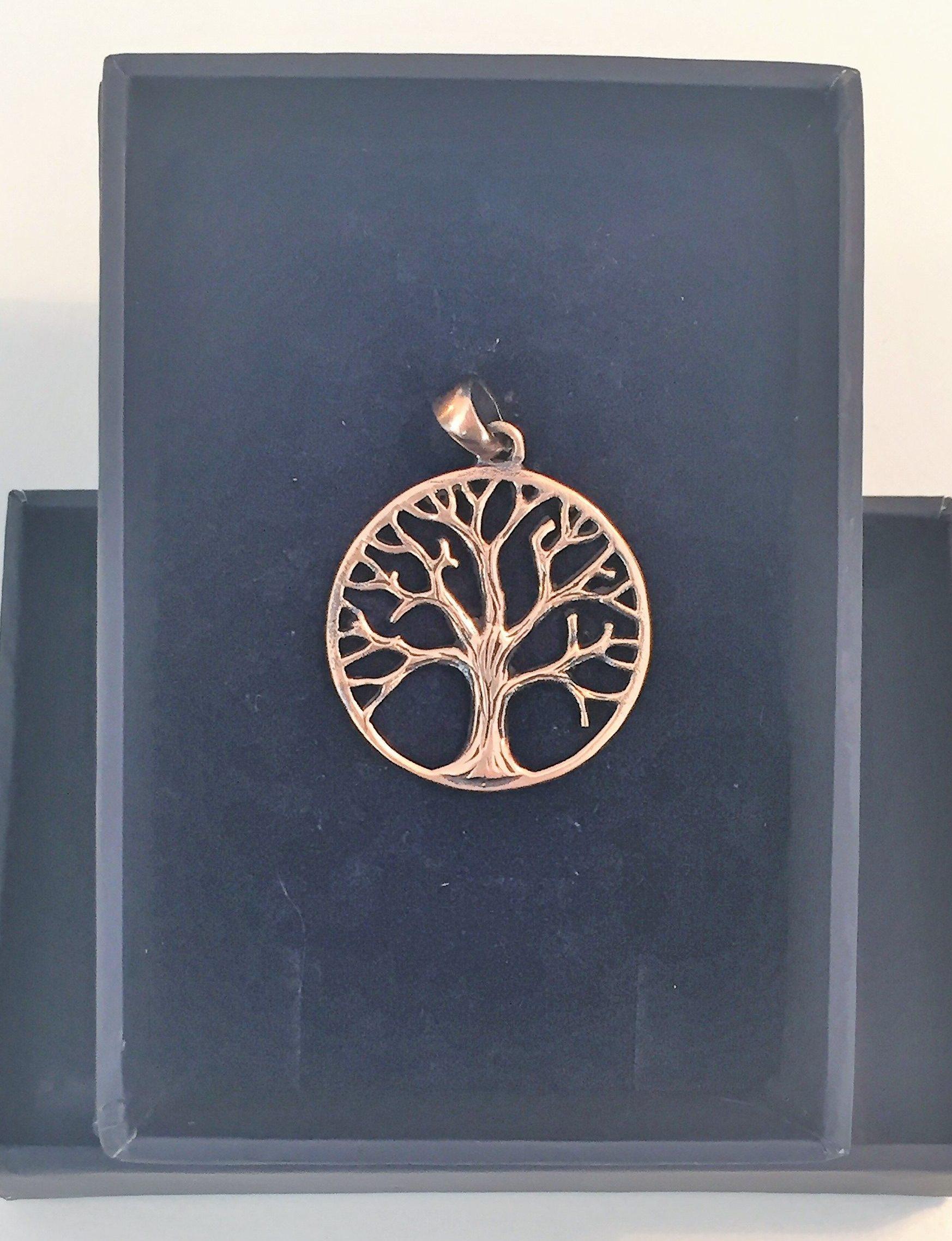 8661a9c2ae4 Vikinge vedhæng i bronze – Livets træ – lille rund Yggdrasil