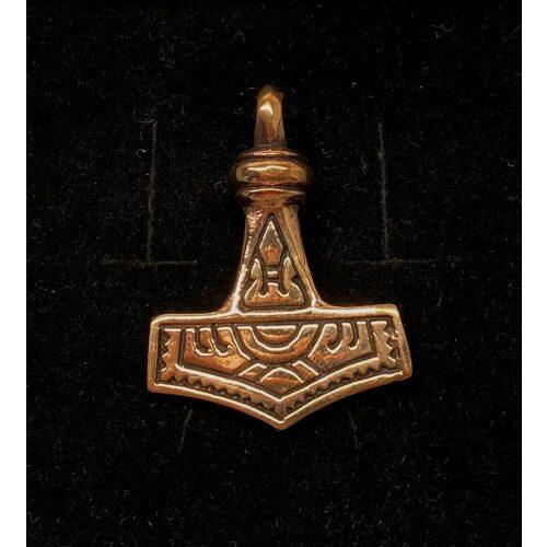 "Vikinge vedhæng i bronze - Dobbeltsidet Thorshammer ""Mjølner"" stor"