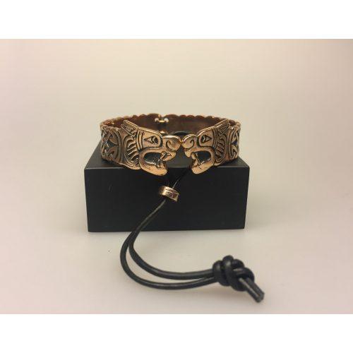 Armbånd bronze med Fenrisulven, fenris, loke, lokes søn, ragnarok, ulv, Armbånd bronze med keltisk evighedsflet ,Vikingearmbånd, vikingesmykker, fund, vikingefund, smykker, armring, herresmykke, herrearmbånd, til mænd, keltisk, flet, fletværk, uendelig, evig, museums, museumssmykker, biti, ribe