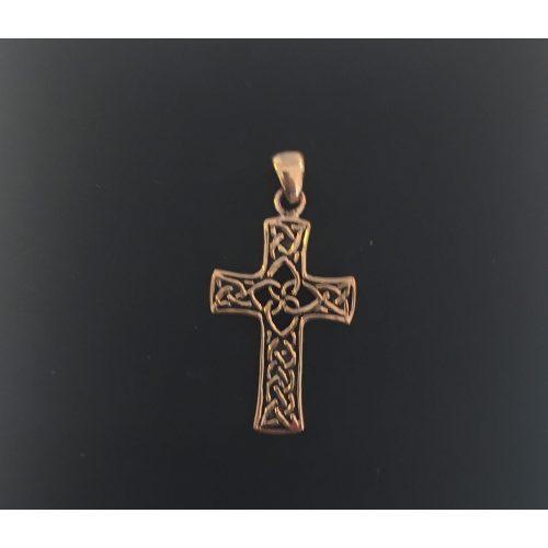 """Vedhæng i bronze - Kors med keltisk flet - """"de 4 elementer"""" vikingesmykke - vikingevedhæng vedhæng bronze keltisk kors"""