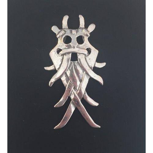 Vikingevedhæng i sølv - Odinmaske - XL, odin, asatro, aser, vikinger, vikingefund, århusmasken, Aarhus masken, museumssmykker, kopismykker, sølvfund, danefæ, nordisk mytologi, thor, loke