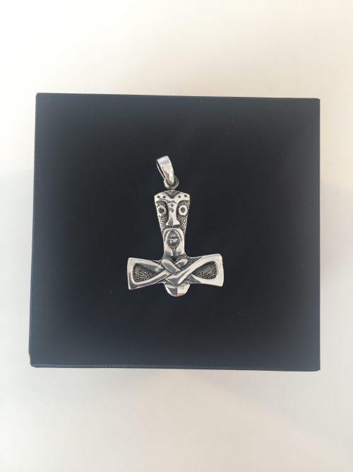 vikingesmykke vikingesmykker vikingevedhæng vedhæng - thorshammer med kriger maske