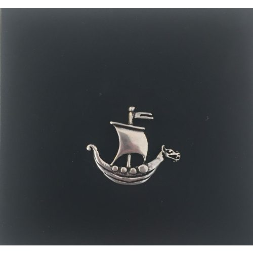Vikingevedhæng i sølv - Vikingeskib med dragestævn, Vikingesmykke vikingeskib - vikingevedhæng skibsølv vikingeskib
