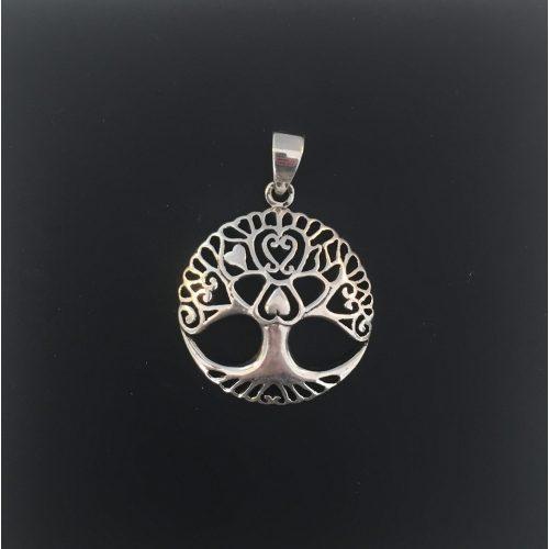 Vedhæng i sølv Livets træ Yggdrasil med hjerter. livstræ, livstræet, ask, ygdrasil, yggdrasil, yggdrassil, nordisk mytologi, nordiske guder, aser, asatro, freja, thor, odin, frej, loke, asgård, udgård, midgård, gamle guder, vikinge, symbol, kærlighed, hjerte, amulet, sølv, sølvvedhæng, sterling sølv, ægte sølv, flot, kvalitet, ribe, biti, vadehavet, nationalpark, thyr, frigg, mimers brønd, hugin, munin, odins ravne
