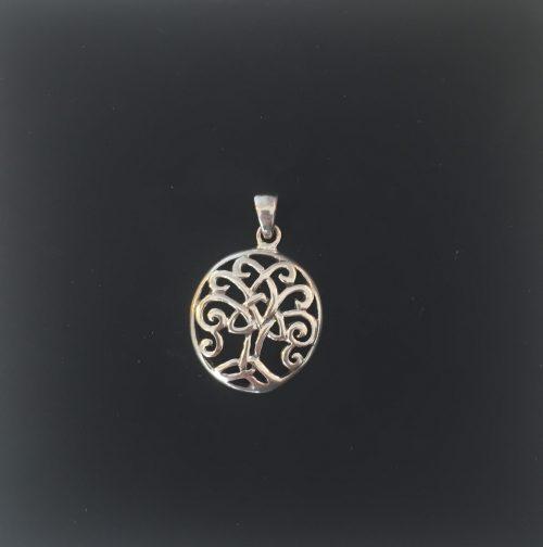 Vikingevedhæng i sølv - Livets træ Yggdrasil med keltisk krone