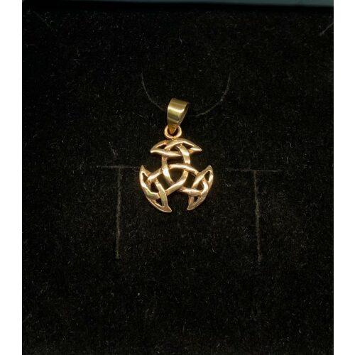 Vikinge vedhæng i bronze - Det kosmiske hjul lille, Vikinge vedhæng i bronze - Det kosmiske hjul S, evigheden, kosmisk, hjul, uendelig, livets gang, magiske tre. triskele, triscal, knude, vedhæng, bronze, museumssmykke, museums smykker, vikinger, vikingesmykker, vikingefund, freja, konfirmation, gave, gaveide, gyldent, billigt, flot, specielt, amulet, held, kopi, fund, ribe, biti, halskæde