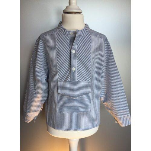 Bondeskjorte til børn - stribet stof Mælkedreng (stof 145)