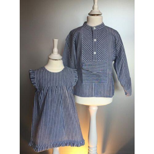 bondeskjorte blå stribet 54 børn barnebondeskjorte bone kjole begge