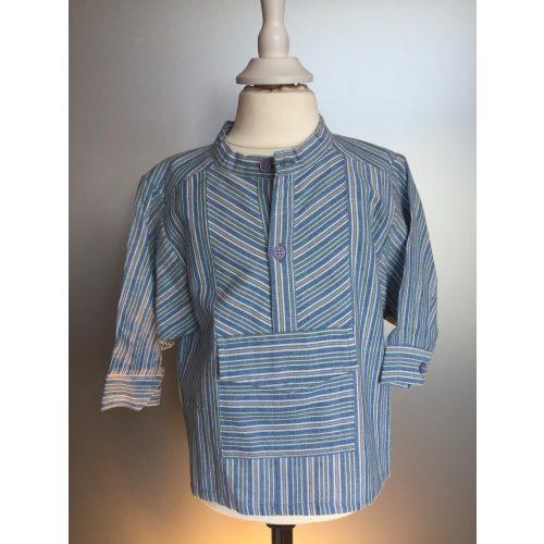 Bondeskjorte til børn- Lyseblå/grøn/beige Stribet (stof 148)