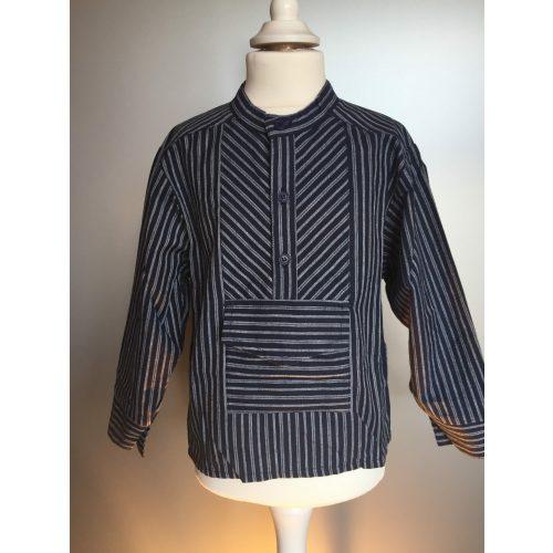 Bondeskjorte til børn - Mørkeblå med dobbeltstribe (stof 01)