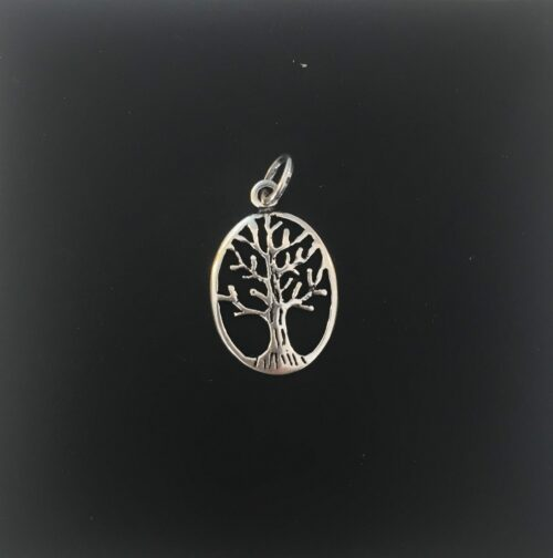 Vikingevedhæng i sølv - Livets træ Yggdrasil lille oval