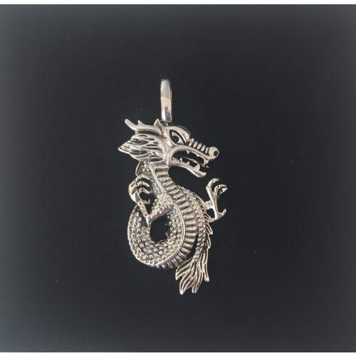 Vikingevedhæng i sølv - Drage med snoet hale, asatro, asgård, udgård, fabeldyr, mytologi, mytologiske væsener, slange, loke, jætter, bifrost, fenris