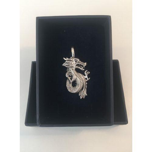 Vikingevedhæng i sølv - Drage med krøllet hale