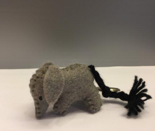 filt elefant lysegrå nøglering