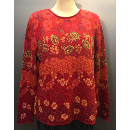 Dunque Fintstrikket pullover bomuld - Rød med grøn, økologisk, bomuld, bomuldsstrik, damestrik, strikbluse, striktrøje, forårsstrik, sommerstrik, blød, kradser ikke, kvalitet, dunque, biti, ribe, varme frver, rød, bluse, trøje, miljørigtig, bæredygtig, holdbar